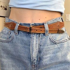 Vintage Tony Lama Brown Leather Western Belt